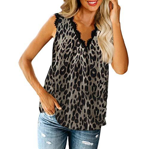Camiseta sin mangas con cuello en V para mujer, con estampado de leopardo, túnica de chifón leopardo XXXL