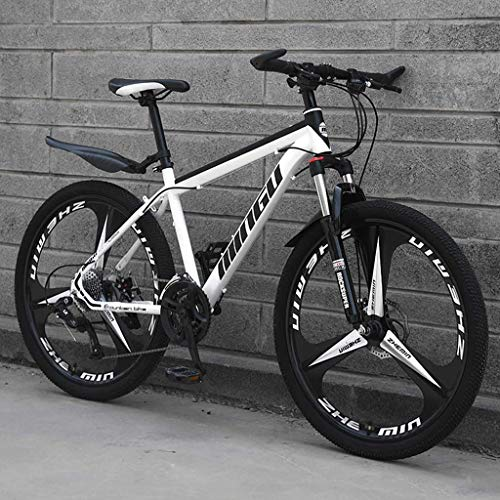 Bicicletas De Montaña para Hombre De 26 Pulgadas, Bicicleta De Montaña Rígida De Acero con Alto Contenido De Carbono, con Asiento Ajustable con,White 3 Spoke,24 Speed