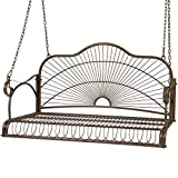 Best Choice Products Hanging Iron Porch Swing Outdoor Patio Furniture Chair Bench Seat w/Armrests, Chains - Brown