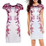 Diamondo Elegant Women Summer Floral Printed Slim Dress Knee Length Party Gown (S)
