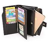 AINIMOER Women's Big RFID Blocking Large Capacity Genuine Leather Clutch Zip Wallet Card Holder Organizer checkbook holder Ladies Purse(Waxed Black)