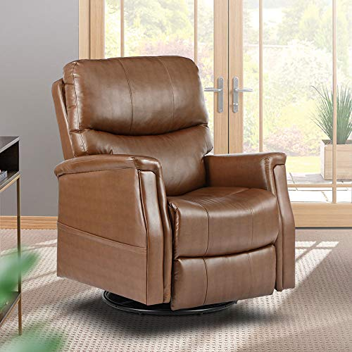 Massage Recliner Chair Manual Swivel Heated Ergonomic Rocker Lounge Chair, 360 Degree Swivel,with Lumbar Heating Function, Reclining Sofa for Living Room, with Side Pockets, PU Leather (Brown)