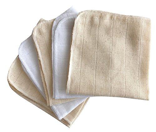Babymajawelt® Débarbouillette 25x25 Premium, coton, ensemble de 5, serviettes, gants de toilette pour les soins de bébé (crème-blanc)