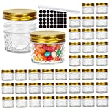 40 Pack 4 oz Glass Mason jars With Regular Mouth Lids, Perfect Canning Jars Containers for Jam, Honey, Candies,Wedding Favors, Decorations, Baby Foods. Included 1 Pens and 40 Labels.