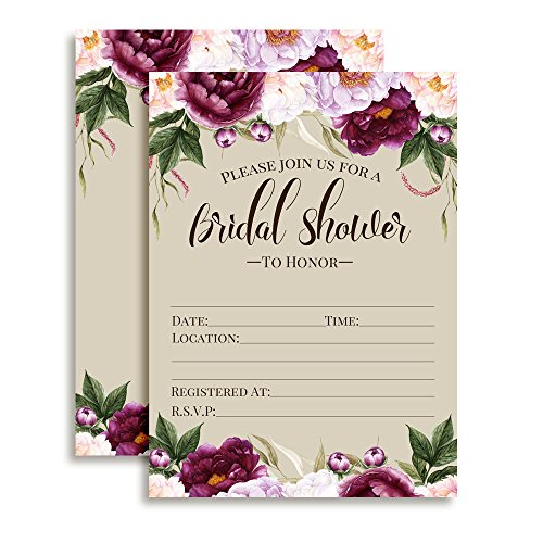 Watercolor Deep Violet and Lilac Floral Bridal Shower Invitations, Ten Fill In Cards with 10 White Envelopes by AmandaCreation