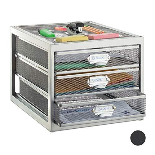 Relaxdays Schubladenbox, 3 Schubfächer, für Din A4 Dokumente, Ordnungssystem für Schreibtisch, Aktenablage, Silber, HBT: 23 x 27,5 x 35 cm