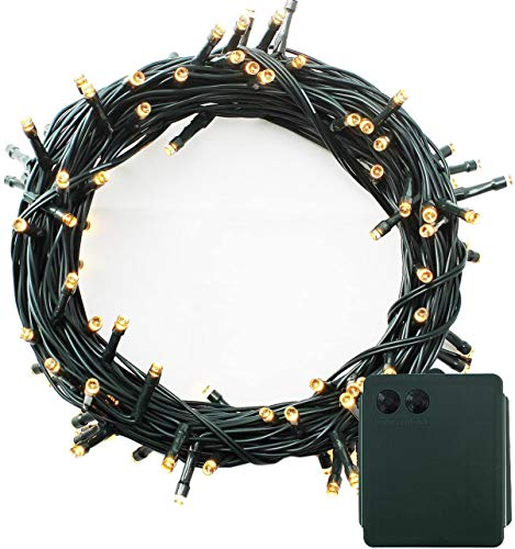 LED Battery Power Operated Dark Green Cable String Fairy Lights Christmas Xmas Garden Party Wedding Decoration (Warm White, 200 LEDs)