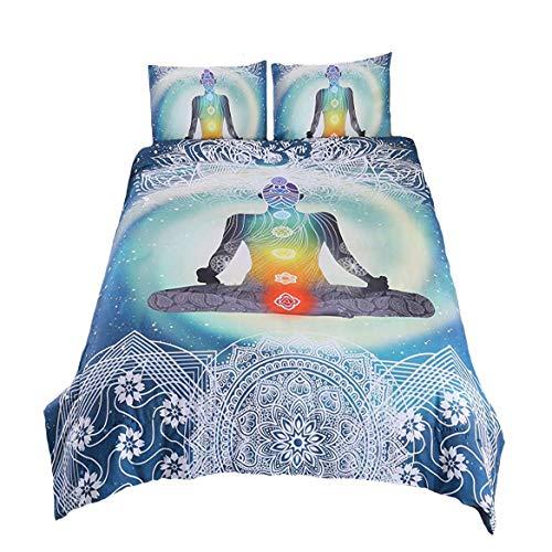 Suncloris, 3D Yoga Hippie Seven Chakras Buddha Bedding Set, Zen Meditation Bedspreads Bodhisattva Datura Lotus Bed Cover. Included: 1 Duvet Cover, 2 Pillowcase (no Comforter Inside) (Green, Queen)