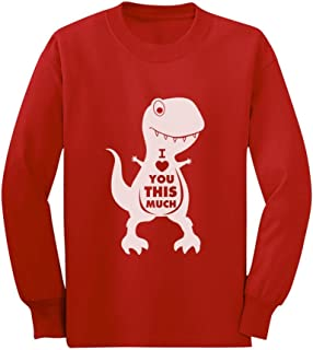T-Rex Valentine's Day I Love You This Much Toddler/Kids Long Sleeve T-Shirt