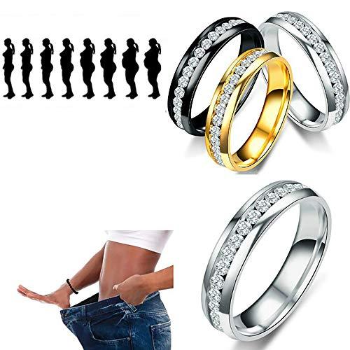 LONG-X Abnehmen Magnetische Gewichtsverlust Ring String Stimulierung Akupunkturpunkte Gallenstein Ring Fitness Reduzieren Gewicht Ring Gesundheit Pflege Ringe,Gold,19MM