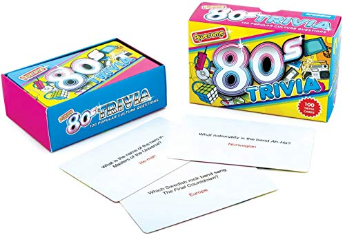 80s Trivia Game. Ideal for placing on a table for your party guests to play. Includes 100 fun-filled question. You could hand out a prize to the winners.
