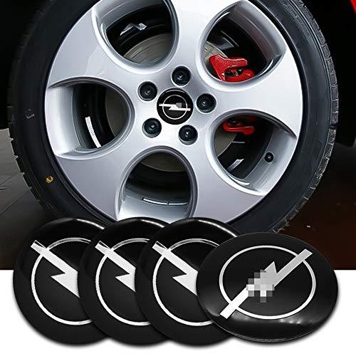 ZGYAQOO 4 Stück Embleme Radnabenkappen Aufkleber Nabendeckel für Opel Astra H G J Corsa Insignia Antara Meriva Zafira, 56mm Ersatzteil Alufelgen Nabenkappen