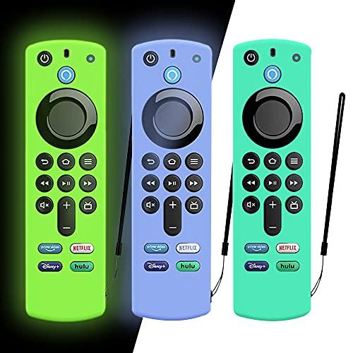 DAZUAN 3 PCS Schutzhülle für Alexa Sprachfernbedienung (3rd Gen) (2021 Release), Stoßfeste Silikonhülle für Fire TV Stick 4K Fernbedienung mit Anti-Verlust-Seil (Blau leuchtend+Grün leuchtend+Eisblau)