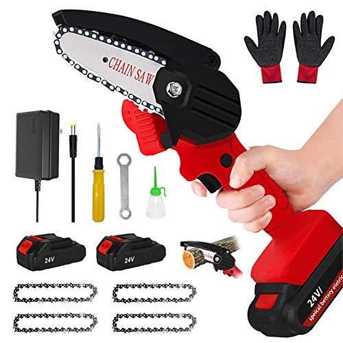 YMWD Motosierra inalámbrica Mini de 4 pulgadas de mano eléctrica portátil con motor sin escobillas, 0,7 kg, tijeras de podar ligeras, motosierra, herramienta de jardinería para el hogar, color rojo