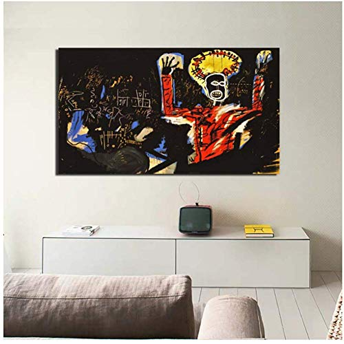 ad Jean-Michel Basquiat Graffiti Art Canvas Painting Print Living Room Home Decoration Artwork Modern Wall Art Oil Painting Posters -60x90cm Sin Marco