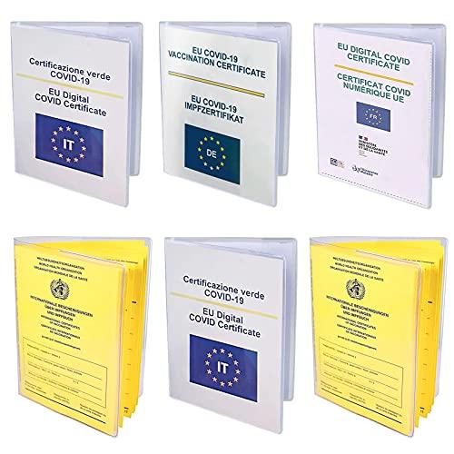 Porta Green Pass Trasparente, 6pcs Custodia Green Pass Italiano, UNOLIGA Custodia Protettiva per 2021 EU Certificato Vaccinazione Verde / Documenti Vaccinativi Vecchi, Antistrappo (105 x 150 mm)