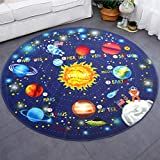 HEBE 4Ft Large Round Kids Rugs Washable Solar System Children's Fun Educational Learning Carpet Playmat Non Skid Nursery Kids Space Area Rug for Boys Girls Playroom Bedroom
