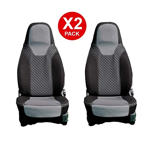 Kfoam Sitzbezüge, hochwertig, für Camper/FIAT Ducato/Peugeot Boxer/Citroën Jumper ab 2006, Grau, 2 Stück