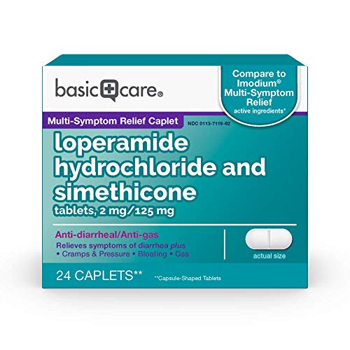 Amazon Basic Care Loperamide Hydrochloride and Simethicone Tablets, 2 mg/125 mg, Anti-Diarrheal and Anti-Gas, 24 Count