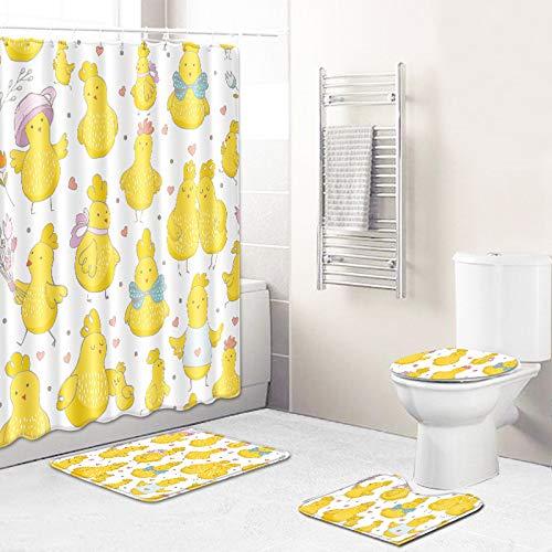 WEIFENG Außenhandel Fantasie Blumen Bad WC vierteilige Set Wohnzimmer Boden Schlafzimmer Teppich Fußmatte 4 45 * 75 cm + 180 * 180 cm