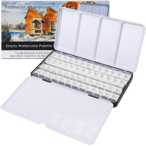 MyArTool Empty Watercolor Palette Tins, Metal Watercolor Tin Palette Paint Case with Fold-Out Palette Holds 48 Half Pans for DIY Watercolor Travel Palette, Acrylic Painting