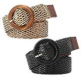 Kesyoo - Cinturón de estilo étnico para mujer, 2 piezas (negro caqui), Nero + Khaki, talla única