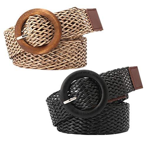 KESYOO 2 unidades de tejido cinturón estilo étnico cinturón estilista cinturones de mujer vestidos vaqueros (negro caqui), niño, 0-24, Negro + Khaki, talla única