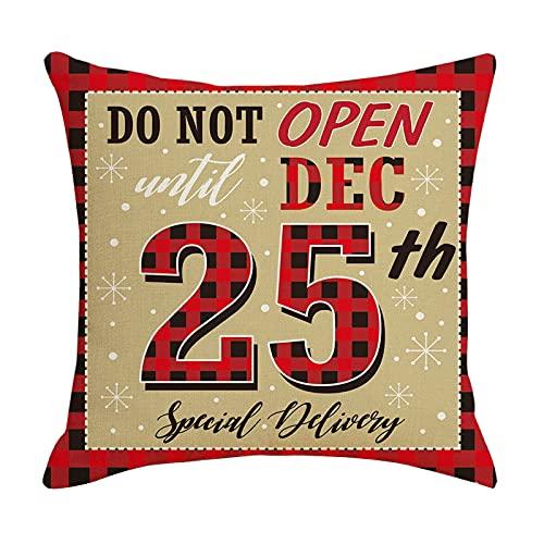 Zldhxyf Funda de cojn con diseo de Navidad con texto 'Frohe Weihnachten', de lino, decorativa, copos de nieve, renos, Pap Noel, decoracin, 45 x 45 cm (G, 45 x 45 cm)