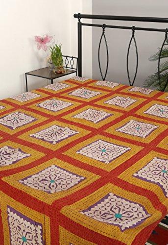 Rajrang Designer Handarbeit Tagesdecke Baumwolle , Lila, Handarbeit Doppelzimmer Bettlaken