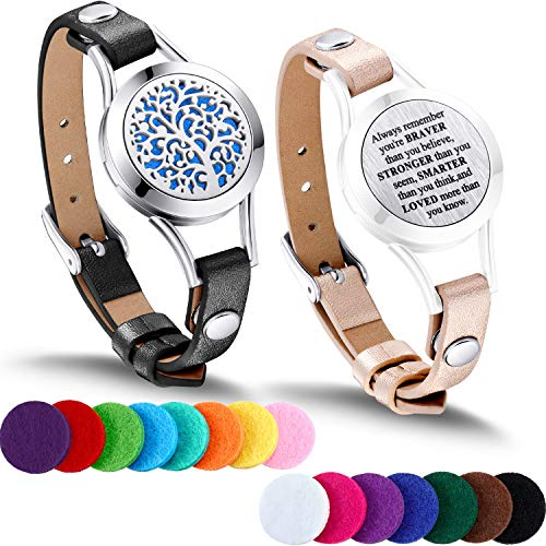 TOODOO 1 Pieces Essential Oil Diffuser Bracelet Aromatherapy Oil Bracelet Locket Bracelet with 2 Leather Bands and 15 Color Pads, Girls Women Jewelry Gift Set (Family Tree)
