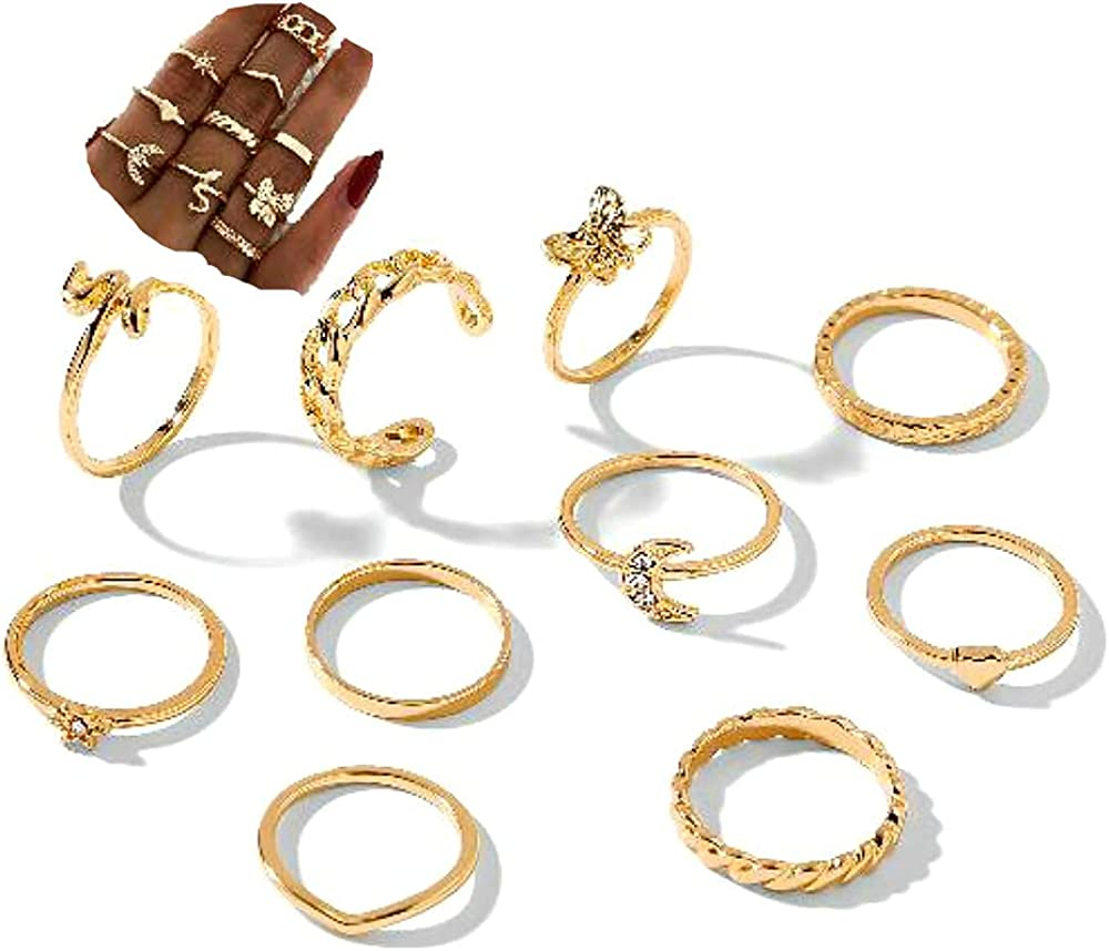 Sither 10 Pcs Gold Knuckle Rings Max 86% OFF Sales Ri Set for Snake Stacking Women