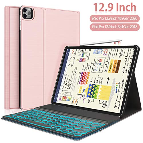 New iPad Pro 12.9 2020 2018 Keyboard Case-7 Colors Backlit Detachable Black Keyboard Slim Leather Folio Smart Cover for iPad Pro 12.9'4th Gen 2020/3rd Gen 2018[Support Apple Pencil Charging]-Rose Gold