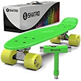 Skatro - Mini Cruiser Skateboard. 22x6inch Retro Style Plastic Board...