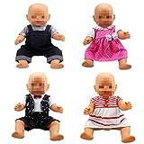 Lance Home Vêtements de poupées - 4 Ensembles Robes à la main Vêtements mignons et 4 Cintres pour 14-16 pouces poupée et 18 pouces American Girl poupee bébé 36-46cm
