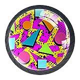 Retro 80S Memphis Moda Estilo Gabinete Tocador Perillas de los cajones Forma redonda de vidrio Tirador para Armario Puerta Armario Armario 4 piezas