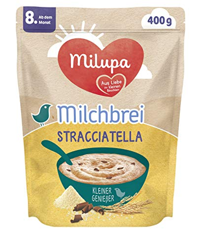 Milupa Milchbrei Stracciatella, Babybrei glutenfrei, Babynahrung ab dem 8. Monat (4 x 400 g)