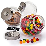 Glass Cookie Jars for Kitchen Counter,(3 Pack) 75oz Food Storage Canisters with Plastic Airtight Lids - Pantry Organizer, Candy Jars for Candy Buffet, Fruit - Coffee Canister, Laundry Detergent Holder