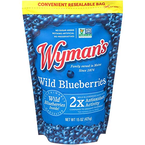 Wyman's of Maine, Fruit in Stand Up Pouch, Wild Blueberries, 15 Ounce (Packaging May Vary)