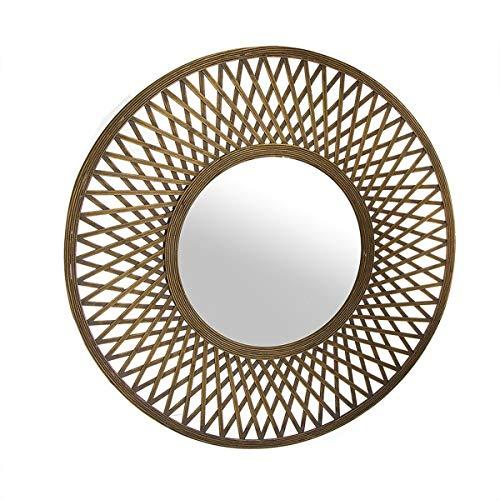 Eideo Home - Espejo de pared redondo (bambú y cristal, 80 cm), color marrón