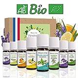 8 x 10 ml Huiles essentielles BIO + guide d'aromathérapie - AB HEBBD - HECT - Qualité et Fabrication FRANCAISE - coffret kit pour aromathérapie & diffuseur - idée cadeau
