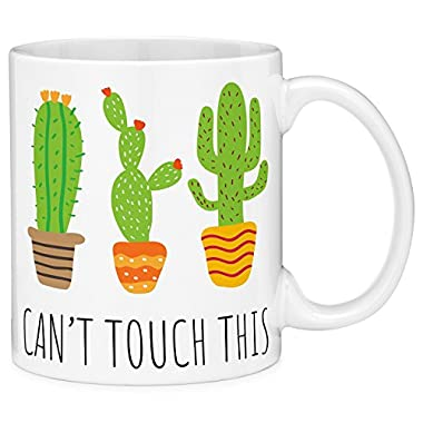 Mugvana Can't Touch This Cactus Funny Coffee Mug Cup Fun Novelty Gifts for Women and Men with Gift Box (11oz)