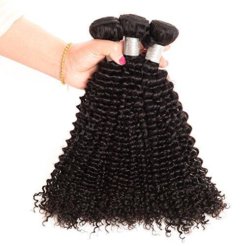 Ruiyu 8A Grade Brazilian Virgin Hair Human Hair Weave 3 Bundles Kinky Curly Human Hair Extensions Hair Weft Natural Color 22 24 26 Inches Pack of 3