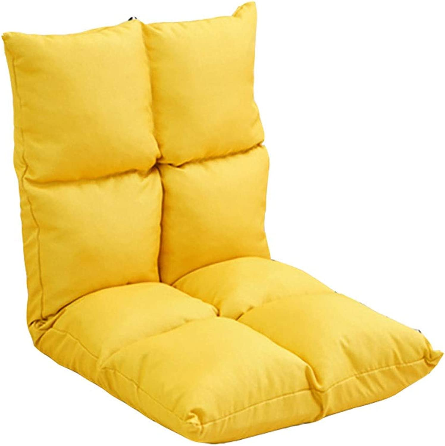Lazy Folding Chair Without Legs Single Back Five-Speed Adjustment Sofa Bay Window Cushion Dormitory Bed Multi-color 102  50  10cm MUMUJIN (color   Yellow)