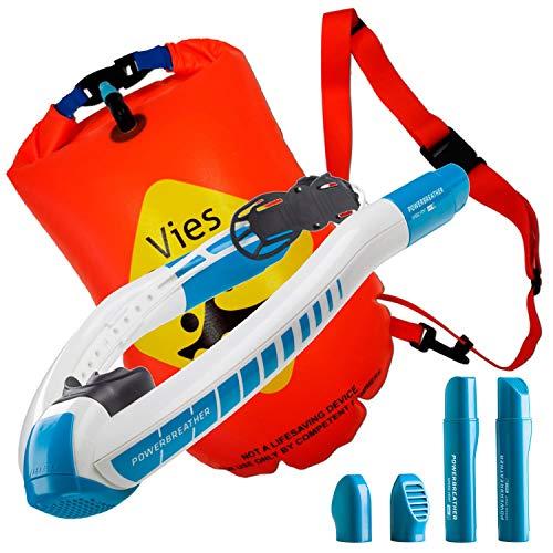 POWERBREATHER Wave mit Schwimmboje/Sicherheitsboje - 100% frische Luft und 100% trocken - Schnorchel mit patentierter Ventiltechnik by AMEO Sports
