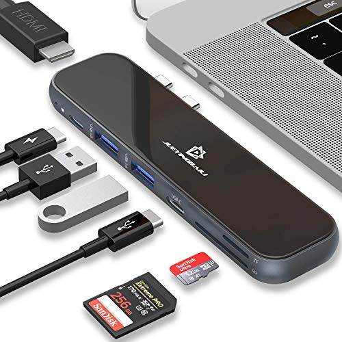 Price comparison product image USB C Hub - Type C MacBook Pro Adapter,  7 in 1 Docking Station with HDMI,  Power Delivery,  Thunderbolt 3,  SD TF Card Reader