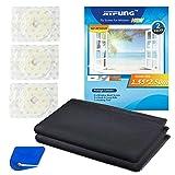 JIT-FUNG - Mosquitera para ventanas, 2 unidades, mosquitera de malla de 2,5 m x 1,55 m, con 3 rollos de cinta autoadhesiva [sin rastro], color negro - 3.0