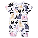 L'été Toddler Enfants Garçons Bébé Mignon De Bande Dessinée Romper Jumpsuit Outfit Vêtements Onesies Impression de Girafe de Dessin animé Combinaison(9-12 Mois,Rose)