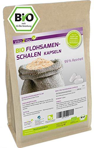 Bio Flohsamenschalen Kapseln - 360 Kapseln - 700mg pro Kapsel - indische Flohsamen Schalen hochdosiert - Biologischer Anbau - Premium Qualität