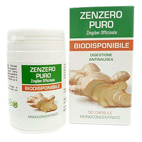 Zenzero Puro Naturfarma 50 Vegan capsule da 350 mg di Estratto Puro| Senza Glutine Senza Lattosio Vegan Approved e capsule in gel vegetale