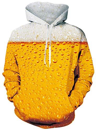 Loveternal Felpa Birra Felpa con Cappuccio Uomo Stampa 3D Galaxy Beer Hoodie Maniche Lunghe per Donna Uomo L